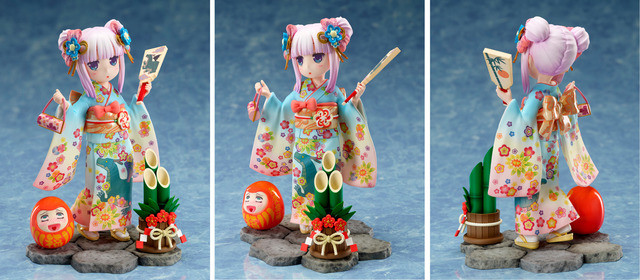 A promotional image for the Miss Kobayashi's Dragon Maid Kanna - Fine Clothes - 1/7 Scale Figure by FuRyu, showing the figure from three angles - front, profile, and rear.