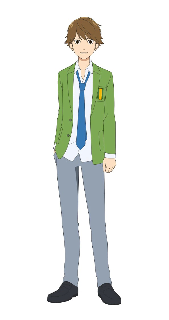 Un escenario de personajes de Kaoru Takei, un miembro del club de fútbol de chicos del próximo anime de televisión Farewell, My Dear Cramer.