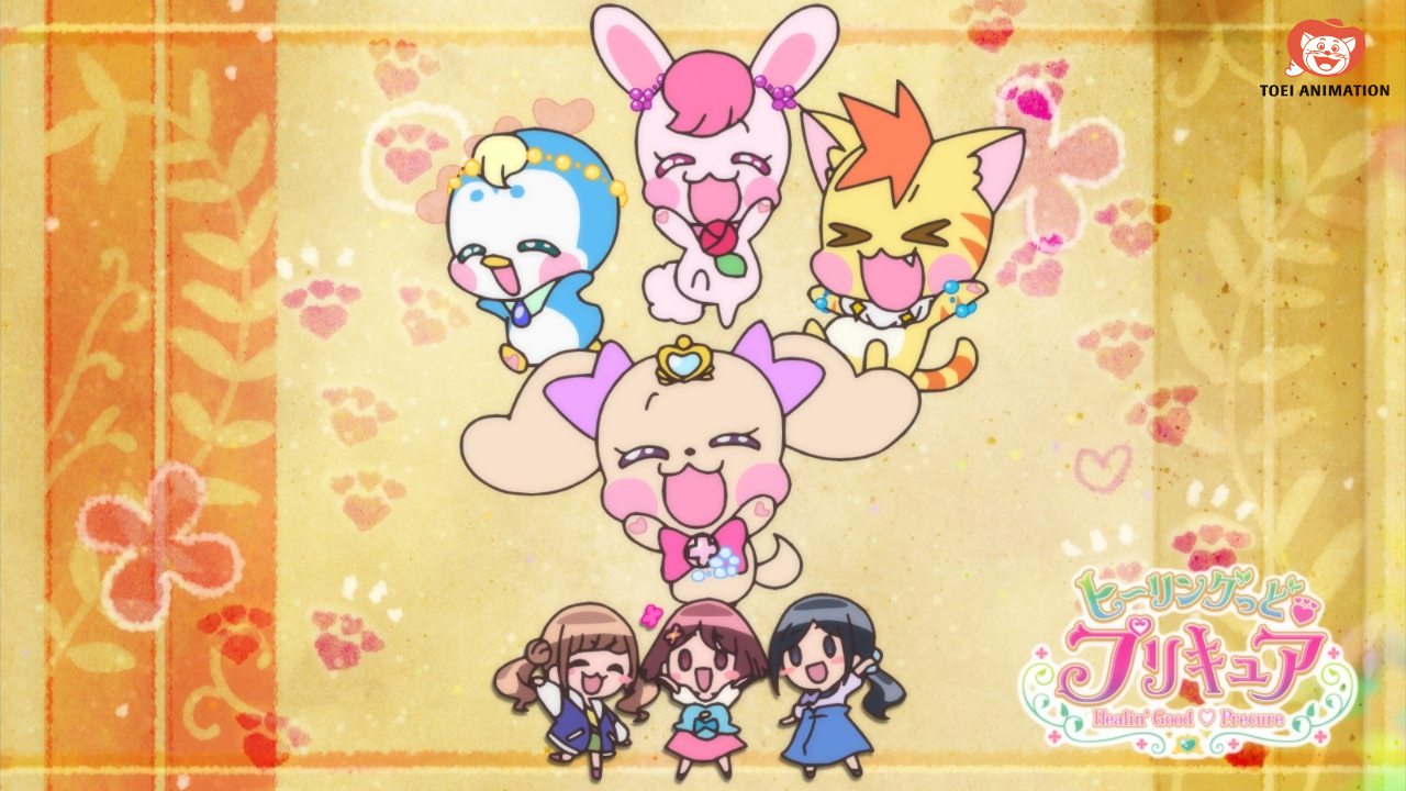 pretty cure precure healin good, as garotas e os animaizinhos que as guiam juntos num eyecatch