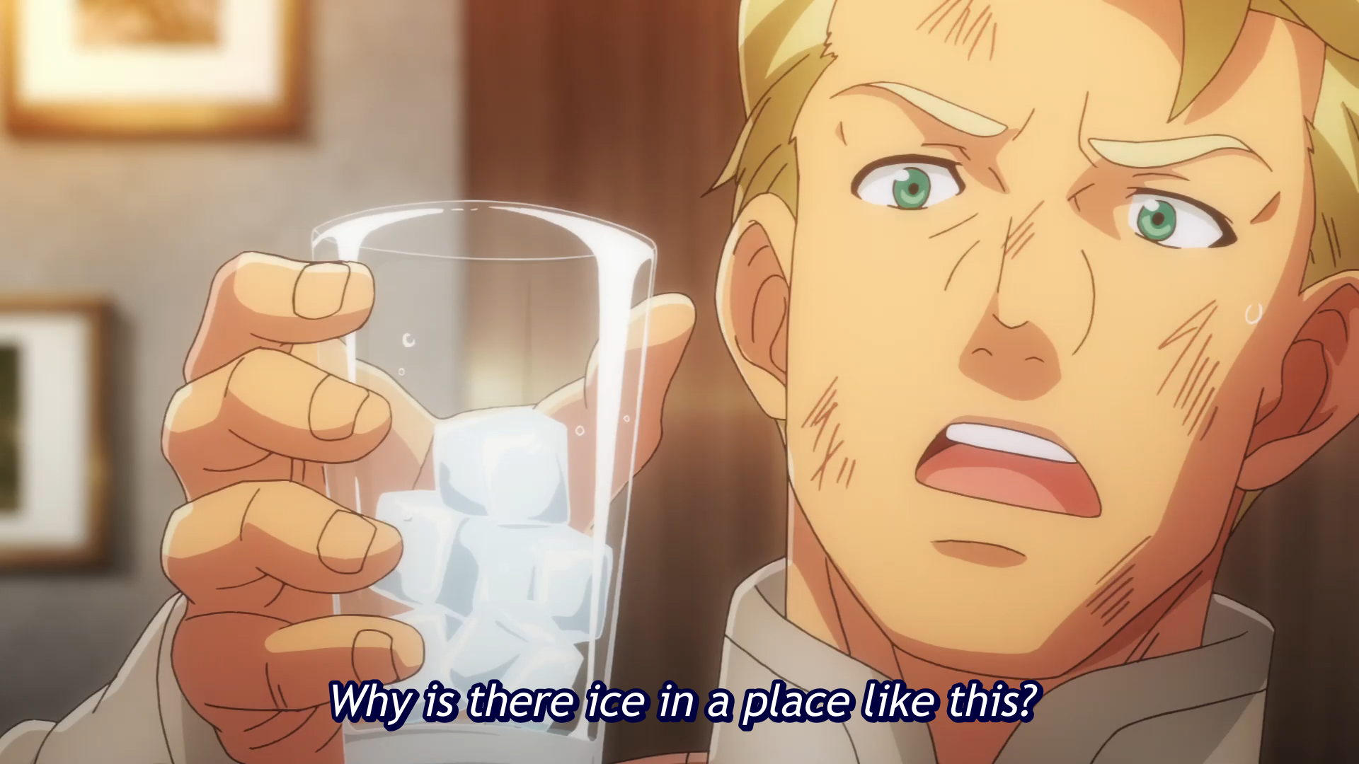 Heinrich Seeleman is astounded by a glass of ice water in a scene from the Restaurant to Another World TV anime.