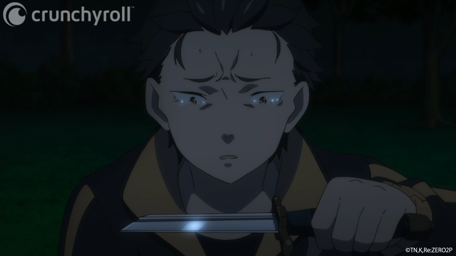 Natsuki Subaru prepares to stab himself in the throat with a broken sword in an effort to reset the timeline in order to save Rem in a scene from the Re:ZERO -Starting Life in Another World- TV anime.