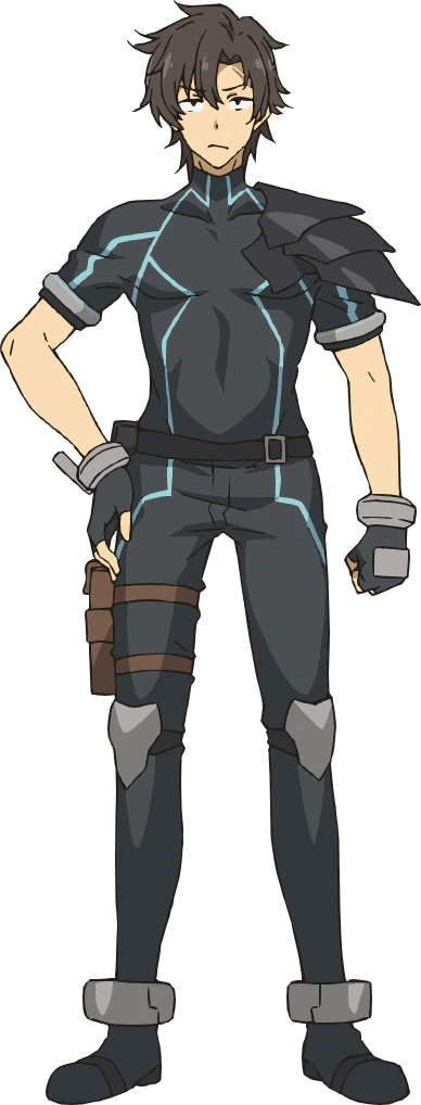 A character setting of Combat Agent Six, a slim, dark-haired young man in a form-fitting and lightly armored bodysuit and one of the main characters from the upcoming Combatants Will Be Dispatched! TV anime.