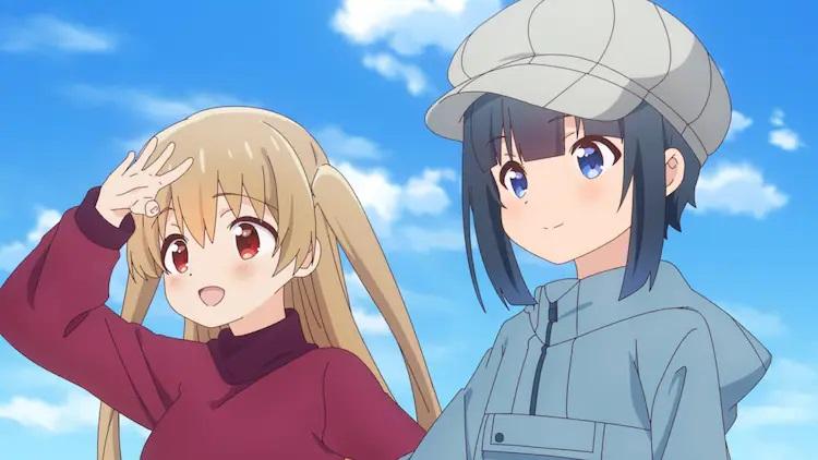 Las hermanastras Koharu y Hiyori Minagi se unen durante una sesión de pesca con mosca en una escena del próximo anime de televisión Slow Loop.