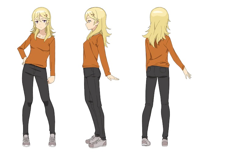 A character setting of Landlady from the upcoming The Great Jahy Will Not Be Defeated! TV anime. Landlady is a slim young woman with blonded hair and a sour expression. She wears and orange sweater, black jeans, and sneakers.