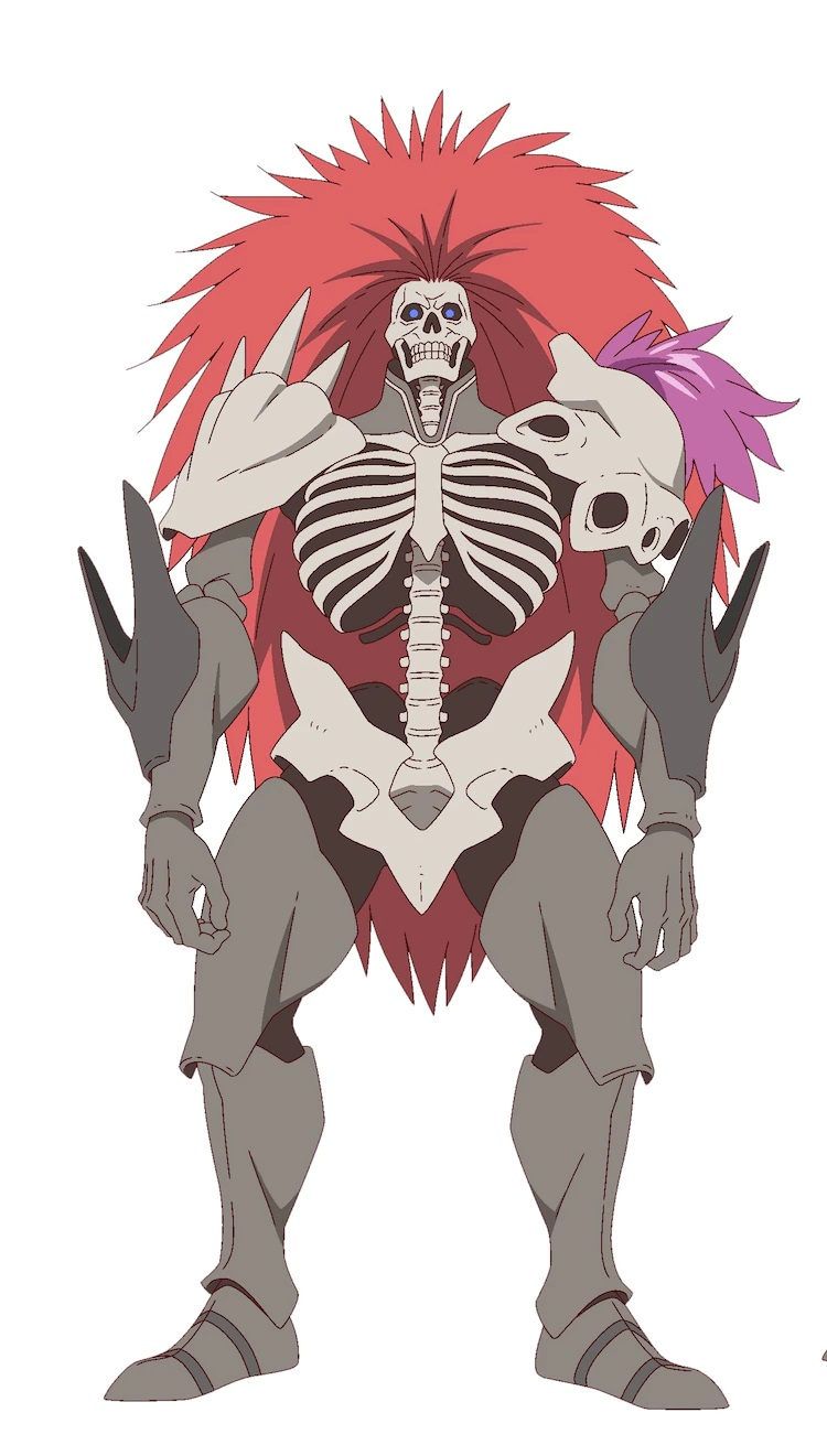 A character setting of Blood, a towering skeletal warrior from the upcoming The Faraway Paladin TV anime. Blood is a skeleton with a huge mane of red hair that wears platemail armor made of metal and bone.