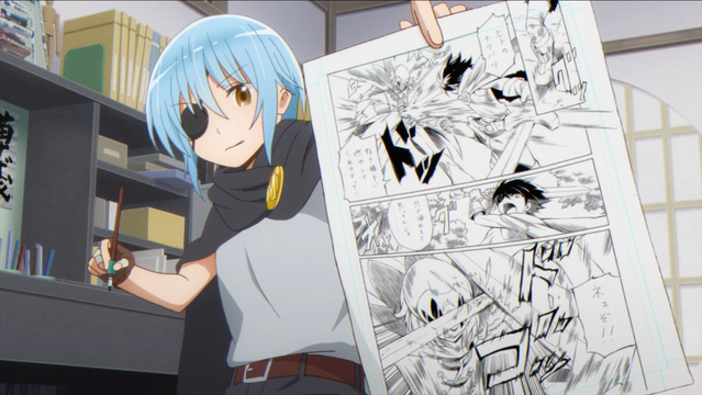 While cosplaying as her own character, Tsubasa inks a page of her Dark Hero manga in the Comic Girls TV anime.
