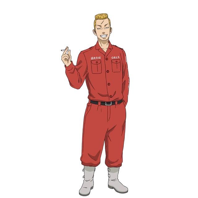 Un escenario de personajes de Nobutaka Osanai, un delincuente con cabello rubio en un peinado de copete, una cicatriz prominente en su frente y ropa de color rojo brillante del próximo anime de televisión Tokyo Revengers.