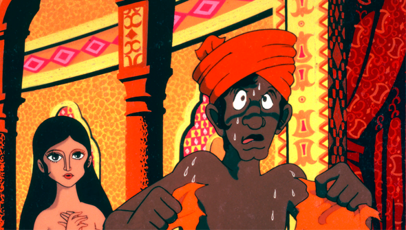 The only SFW screen-cap that I was able to find for 1001 Nights, a 1969 adult animated film based on the Arabian Nights folktales and produced by Osamu Tezuka.
