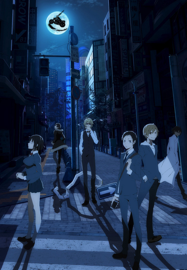 A key visual featuring the main cast of the Durarara!! TV anime.