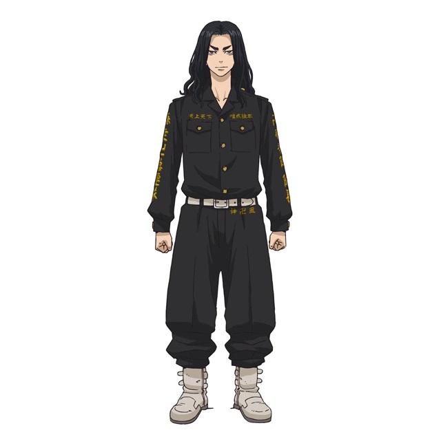 Un escenario de personajes de Keisuke Banji, un delincuente con largo cabello negro y una expresión malvada del próximo anime de televisión Tokyo Revengers.