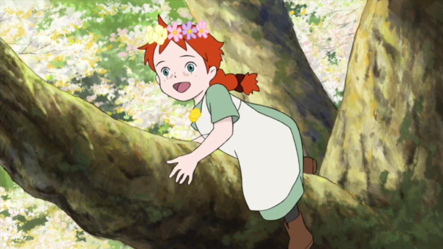 Anne enjoys climbing a tree in a scene from the first episode of Konnichiwa Anne Before Green Gables, which is currently streaming on the AnimeLog international Youtube channel.