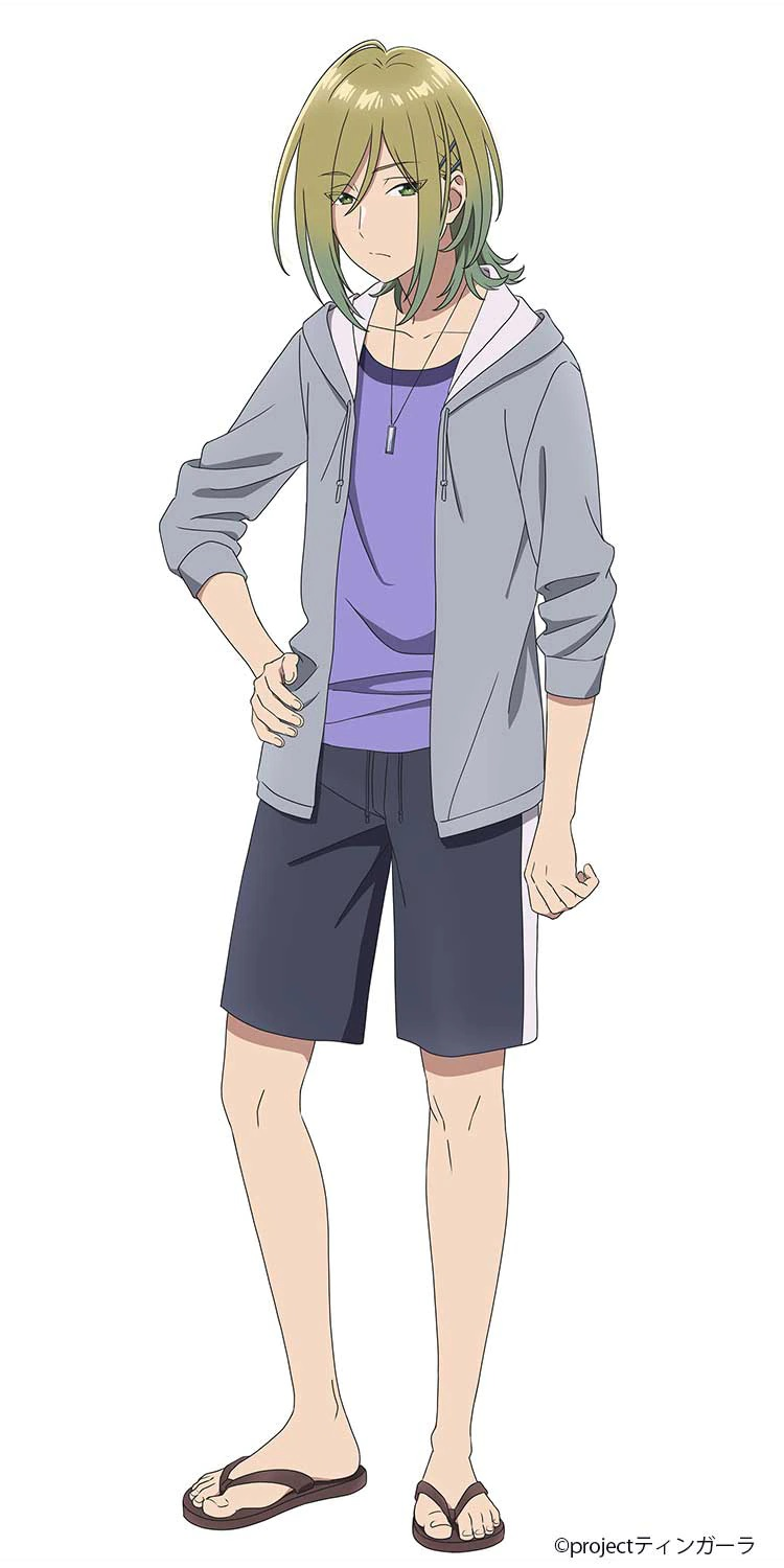 A character setting of Kuuya Yakamashi from the upcoming Aquatope of White Sand TV anime. Kuuya is a laidback looking young man with longish gray-blonde hair who dresses in a T-shirt, sweater, shorts, and sandals.