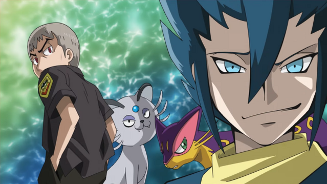 A screenshot from the Pokémon Masters animated trailer, showing Grimsley alongside Nanu.
