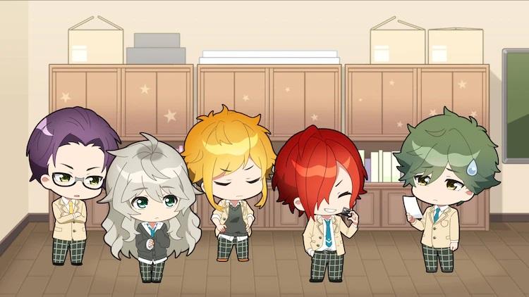 Los cinco miembros del Club de Astronomía de la Escuela Secundaria de Yusei se reúnen en la sala del club de su escuela para ofrecer sugerencias en una escena del anime web del Club de Astronomía de la Escuela Secundaria de Yusei.  Los cinco personajes principales están representados como jóvenes guapos en forma de chibi.