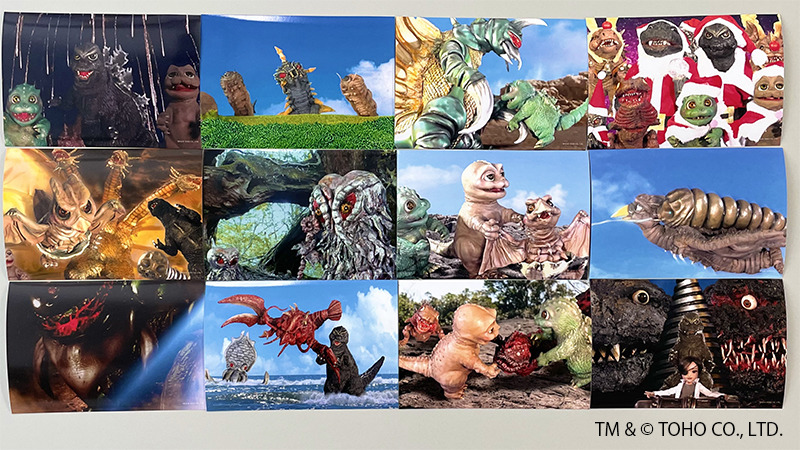 A promotional image for the Kaiju Ningyougeki Goji-ban Youtube puppet show, featuring numerous scenes of the three Godzilla brothers and other monsters getting up to various kaiju hijinks.