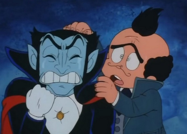 Van Helsing attempts to comfort Dracula in a scene from the short-lived Don Dracula TV anime.
