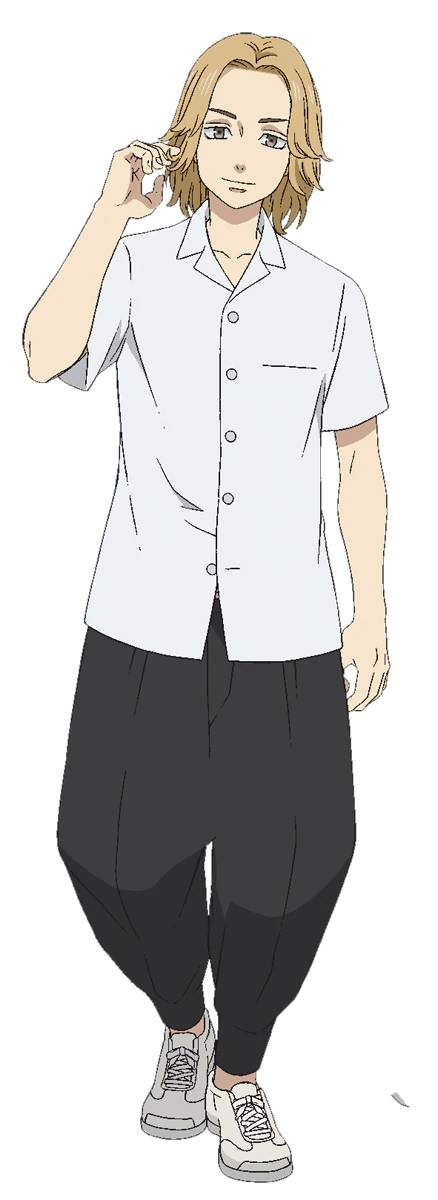 A character setting of Takuya Yamamoto, a delinquent with blonde hair and amber eyes from the upcoming Tokyo Revengers TV anime.