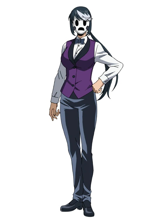 A character setting of Dealer Mask, a mysterious masked woman in a blackjack dealer's outfit, from the upcoming High-Rise Invasion Netflix Original Anime.
