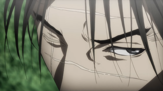 An extreme closeup on the heavily-scarred face of Manji, the protagonist of the new Blade of the Immortal TV anime.