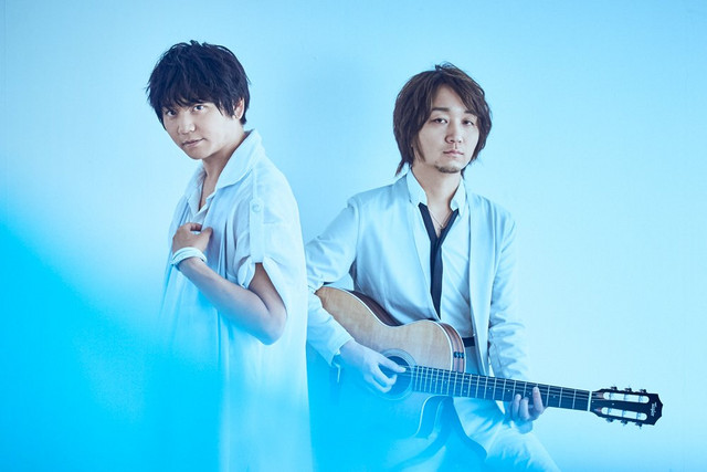 A key visual of the music unit SCREEN mode, composed of vocalist Yu-YOU- and guitarist Masatomo.