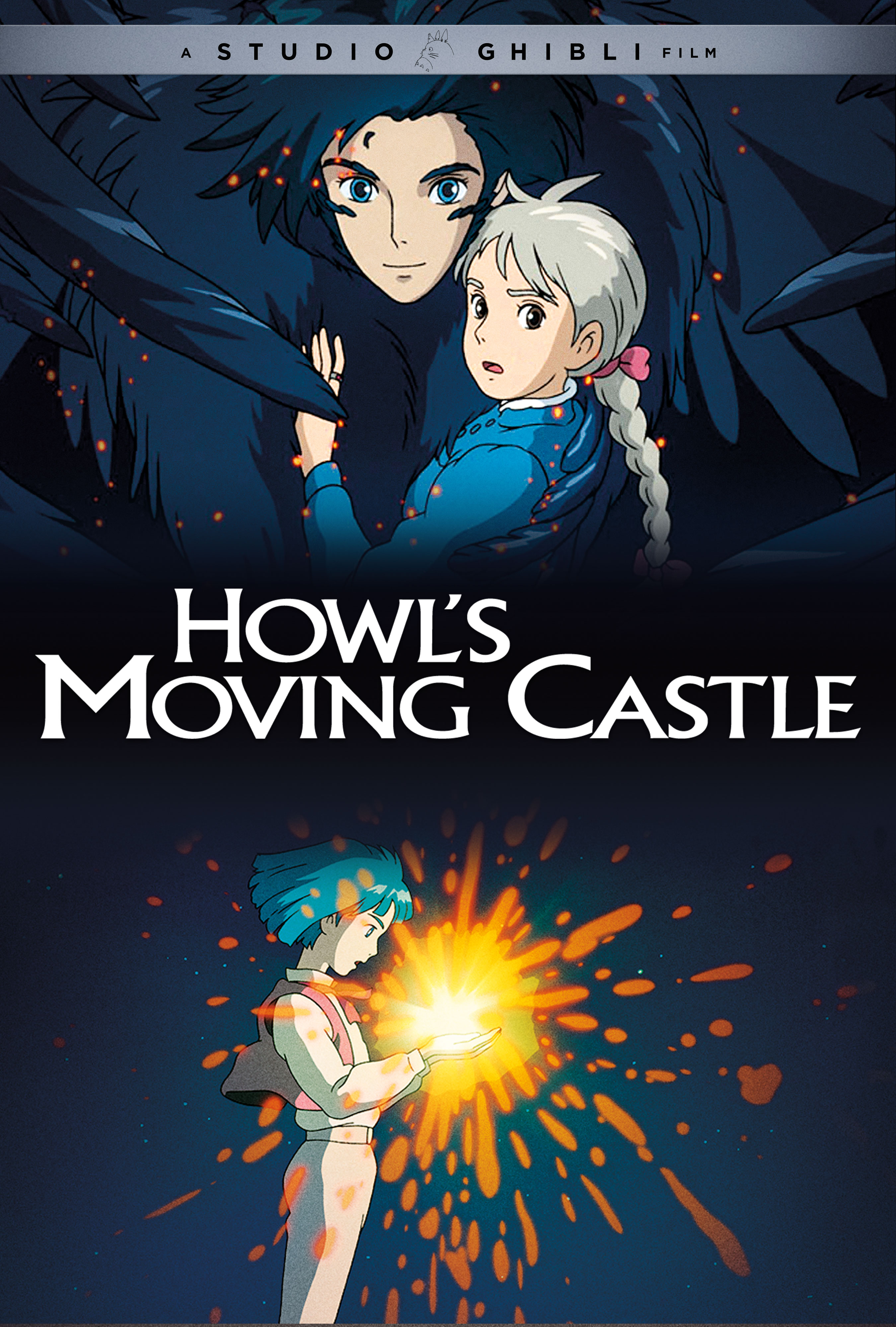 The official movie poster for the GKIDS release of Howl's Moving Castle, featuring Howl in his raven transformation carrying and Sophie and a scene of Howl forming his pact with Calcifer.