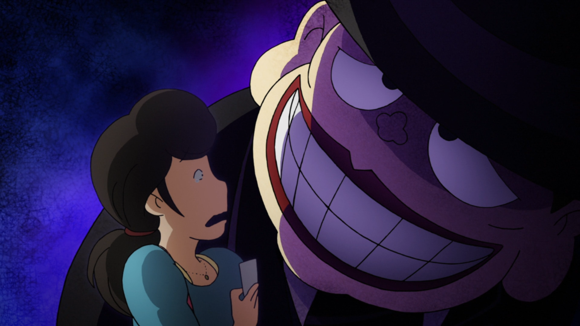 Moguro Fukuzo looms over a terrified potential client in a scene from the 2017 The Laughing Salesman TV anime.