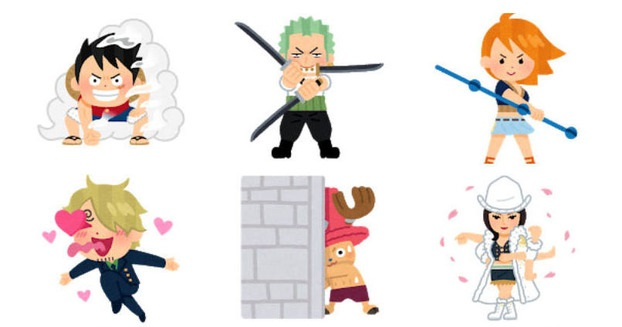 A sampling of images from the One Piece x Irasutoya collaboration celebrating 1000 chapters of the One Piece manga by Eiichiro Oda, featuring cute clip-art illustratsion of Luffy, Zoro, Nami, Sanji, Chopper, and Robin.