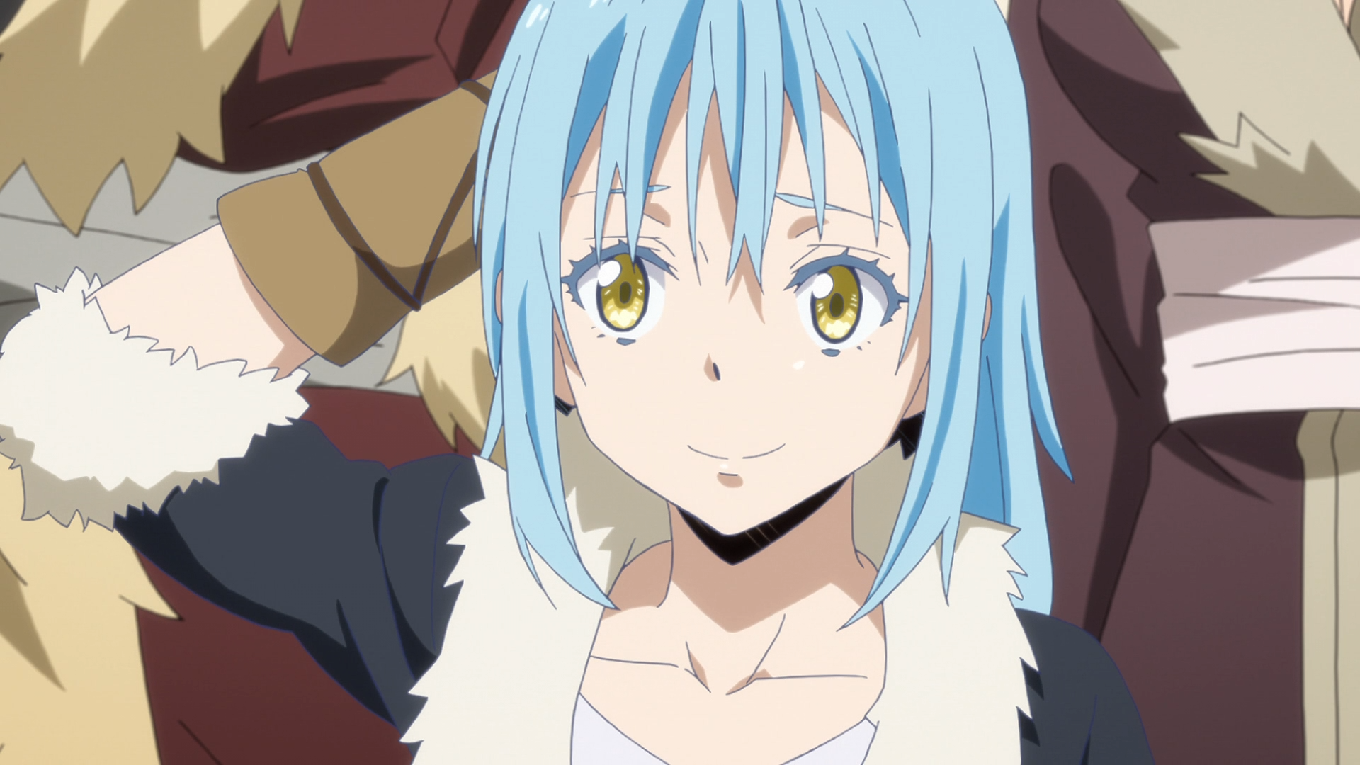 In human form, Rimiru attempts to negotiate with an envoy from the Lizardmen tribes in a scene from the That Time I Got Reincarnated as a Slime TV anime.
