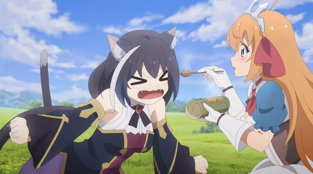 Cal is offended by Pecorine offering her a hot helping of stir-fried rice in a scene from the upcoming Princess Connect! Re:Dive TV anime.