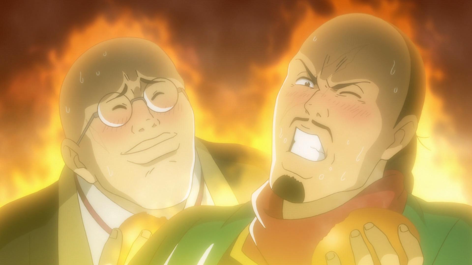 Los jueces de Shanghai están abrumados por el sabor de los dulces bollos fritos de Xie Lu en una escena del anime de televisión True Cooking Master Boy 2019.