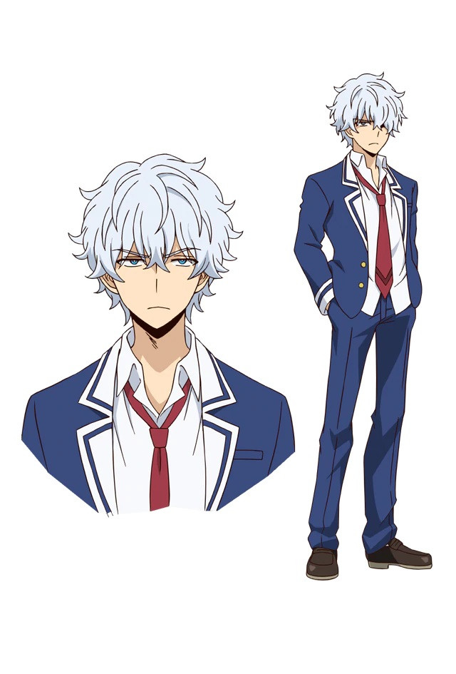 A character setting of Kyouya Onodera, an antisocial boy from the upcoming Talentless Nana TV anime. Kyouya has white hair and blue eyes, and he wears a blue school uniform with a jacket and a red tie, but unlike Nanao, his appearance is unkempt, with his collar and tie loosened and his shirt not tucked in.