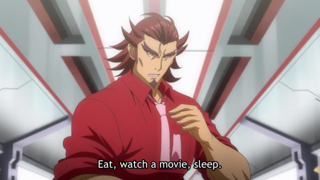 "Genjuro says, ""Eat, watch a movie, sleep."""