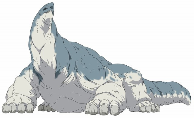In Behemoth form, Arthur is massive gray beast that looks like a thick-necked brontosaurus.