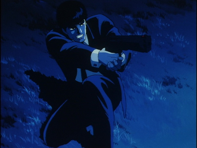 "This is probably the only ""safe for work"" image in there runtime of Wicked City: Taki Renzaburo preparing to fire his enormous handgun."