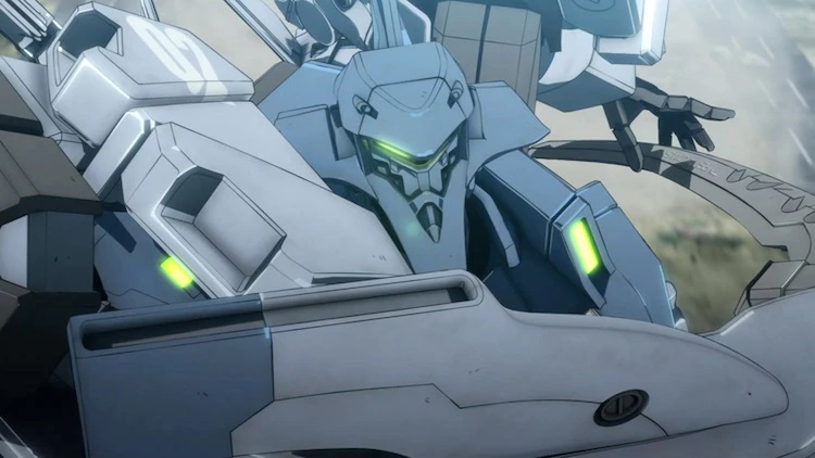 A TSF mecha prepares to slash with its sword in a scene from the upcoming Muv-Luv Alternative The Animation TV anime.