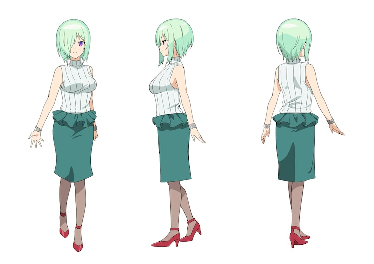A character setting of Druj from the upcoming The Great Jahy Will Not Be Defeated! TV anime. Druj is a professional-looking woman with pale green hair covering the right side of her face and purple eyes. She wears a white blouse, a teal skirt, stockings, and red high heeled shoes.