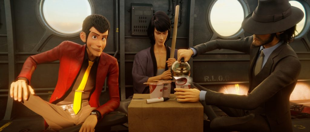Lupin, Goemon, and Jigen share some instant ramen in a scene from the Lupin the 3rd: The First 3DCG theatrical anime film.