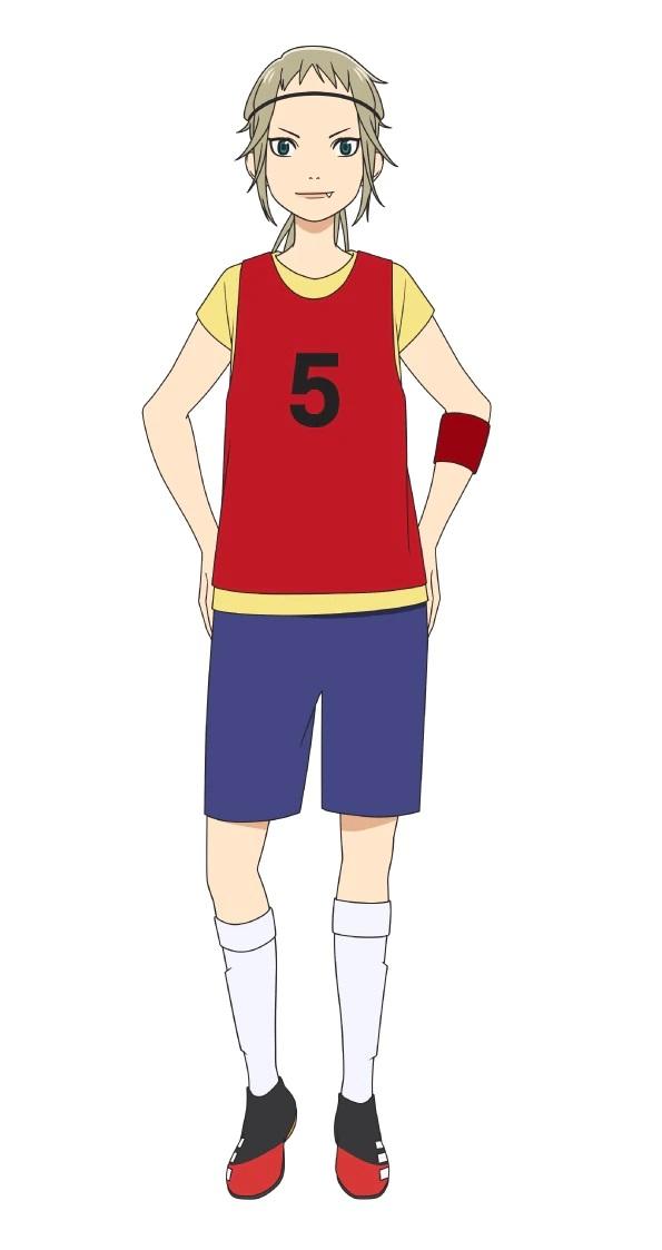 Un escenario de personajes de Rei Kutani, miembro del equipo de fútbol sala Hillies del próximo anime de televisión Farewell, My Dear Cramer.  Rei tiene cabello rubio salvaje, ojos verdes y un diente canino prominente.  Está vestida con su ropa deportiva, incluida una camiseta roja con el número 5.
