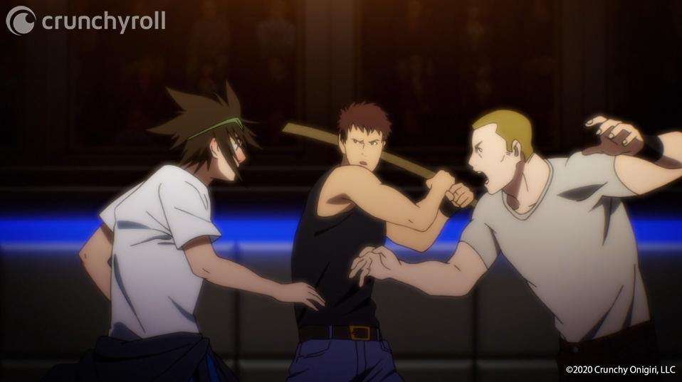 Jin Mori se prepara para herir a un par de hooligans de artes marciales durante la ronda de clasificación del torneo en una escena del anime televisivo The God of High School.