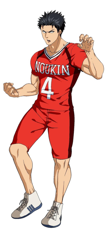 Un escenario de personajes de Shinji Date, un miembro del club kabaddi de Noukin High School con un físico musculoso y una expresión intensa, del próximo anime de televisión Burning Kabaddi.