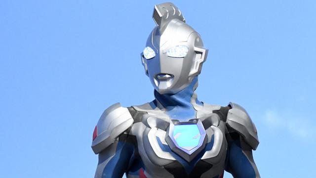 A medium shot of Ultraman Z, the titular towering superhero from the upcoming live-action tokusatsu hero TV show from Tsuburaya Productions.
