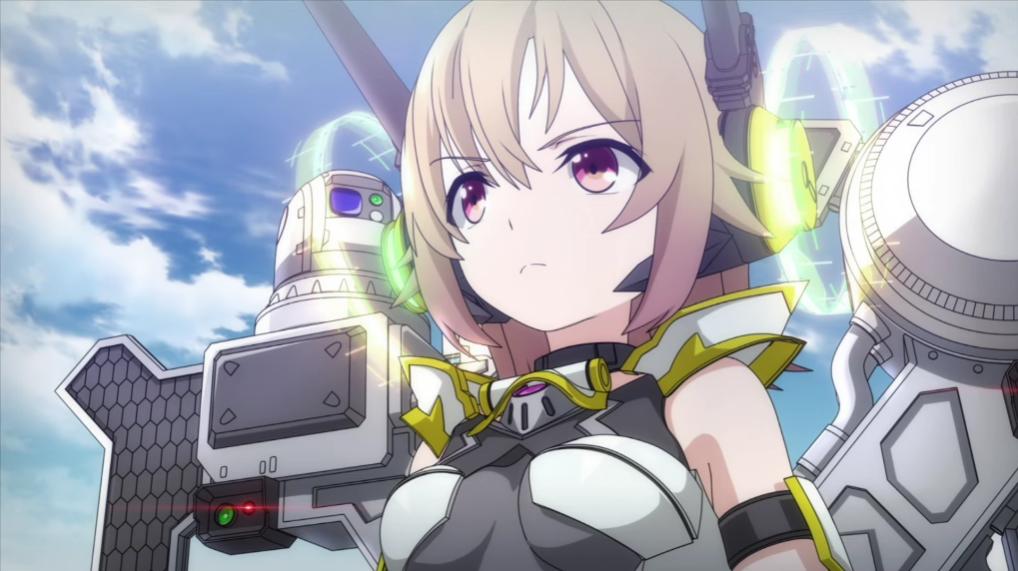 """Suzuno la usa """"Lucifer"""" modelo de armadura con motor LBX para inspeccionar el campo de batalla en una escena del próximo anime de televisión Soukou Musume Senki."""