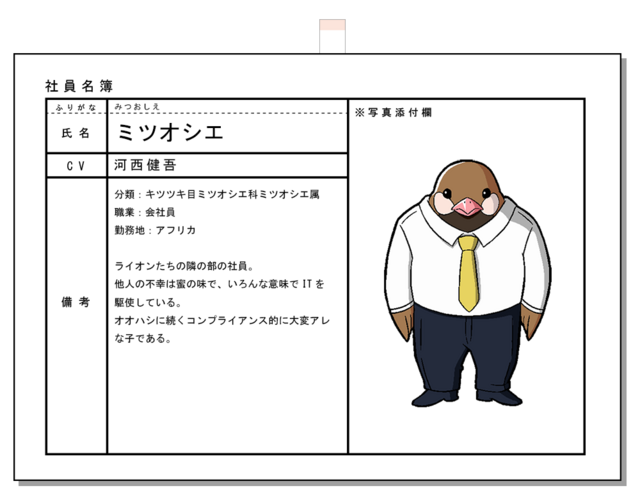 A character visual of Honeyguide, an anthropomorphized bird in a suit and tie in the African Office Worker TV anime.