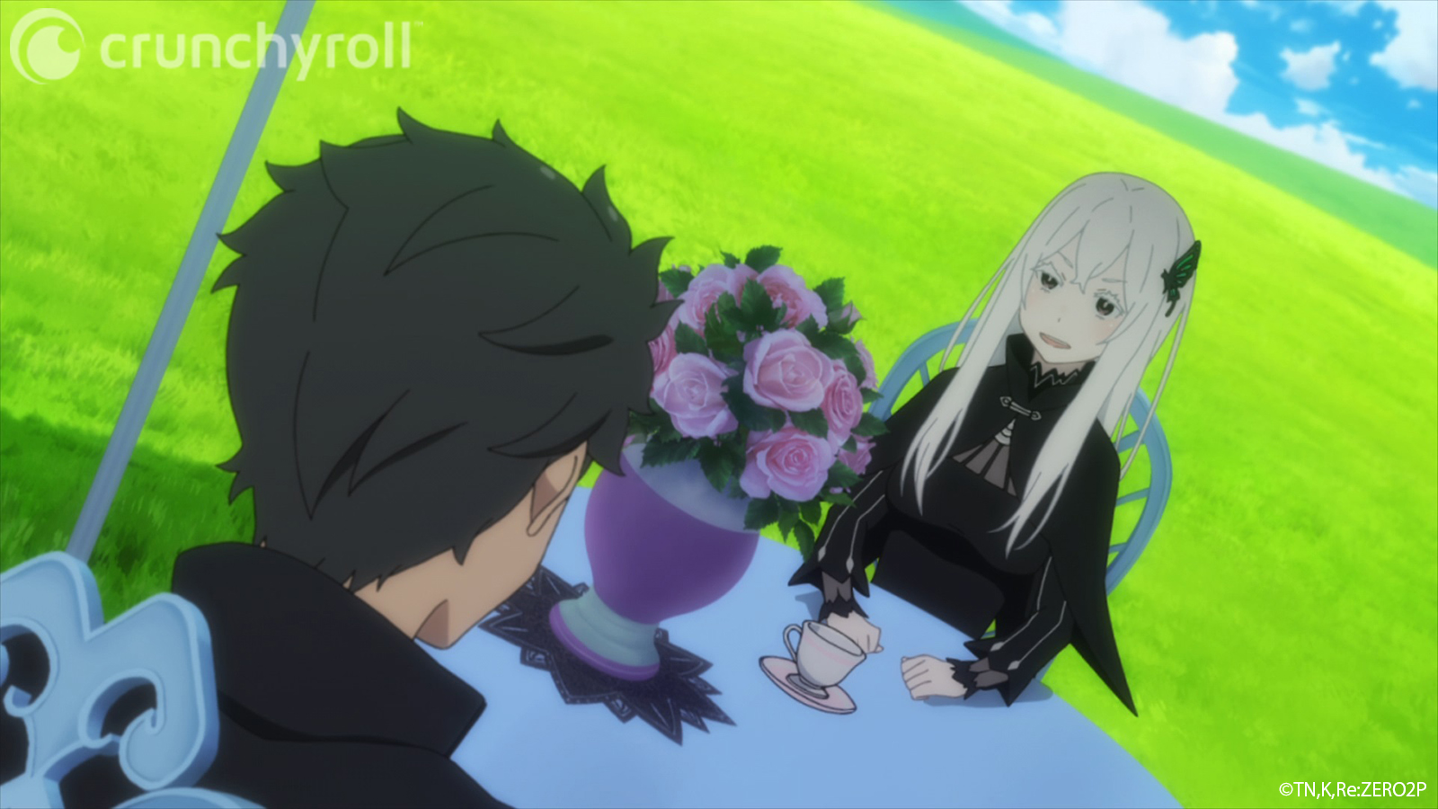 Echidna, the Witch of Greed, prepares a lovely cup of tea for Subaru in a scene from the Re:ZERO -Starting Life in Another World- TV anime.