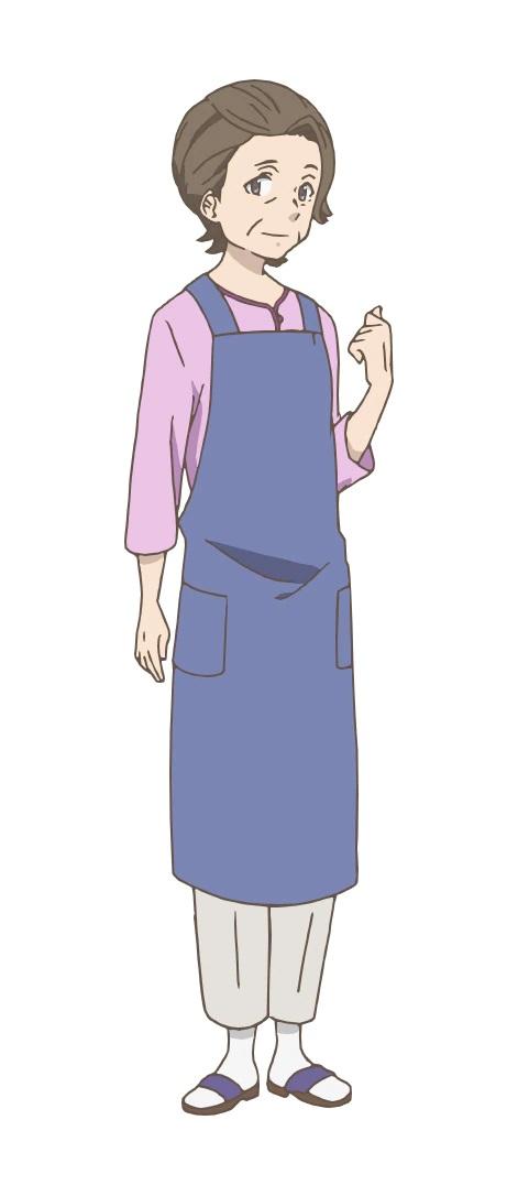 Un escenario de personajes de Sachie Tokikawa del próximo anime de TV Yakunara Mug Cup Mo.  Sachie aparece como una abuela de unos sesenta años con cabello corto y rubio.  Lleva un delantal para proteger su ropa.