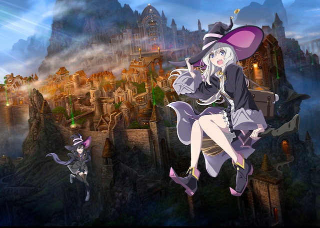 A teaser image for the upcoming Majo no Tabitabi TV anime, aka The Journye of Elaina, featuring the witch Elaina and her friend riding brooms in from of a gothic walled city.
