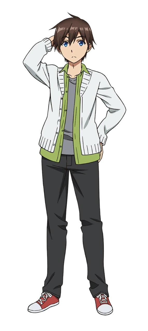 A character setting of Kyouya Hashiba, a young man with brown hair and blue eyes dressed in casual clothing from the upcoming Bokutachi no Remake TV anime.