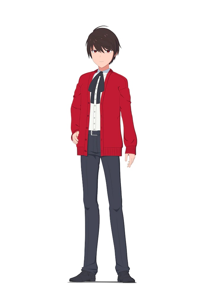A character setting of Walter from the upcoming The Duke of Death and His Maid TV anime. Walter appears as a young man with touseled black hair and red eyes. He wears a red sweater, a white button down shirt, a black cravat, black slacks, black socks, and black dress shoes.