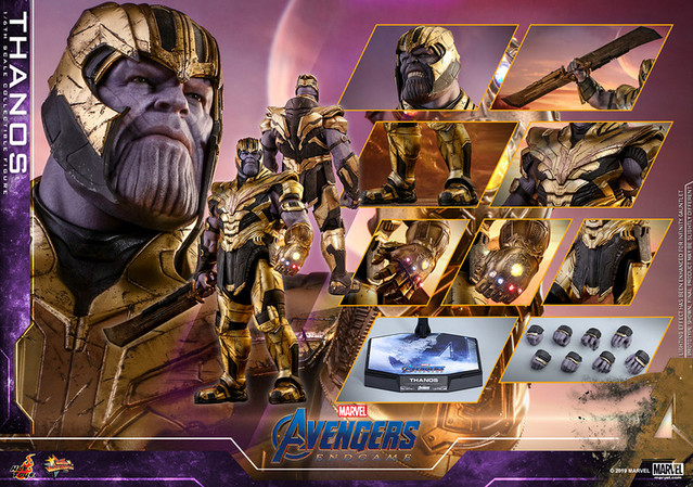 An image of the 1/6 scale Thanos figure, complete with gimmicks and accessories.