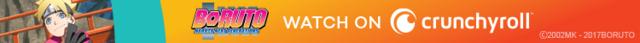 Boruto smirks for a Crunchyroll ad banner.